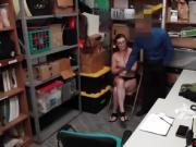Sexy shoplifter teen busted and fucked by a security guy