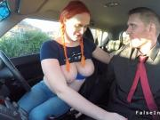 Pigtailed tattooed redhead bangs in car