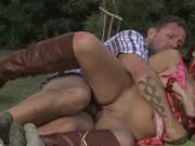 Busty brunette takes it in the ass on his farm