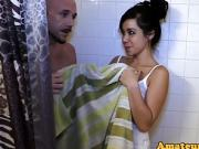 Couple enjoys CFNM scene after shower in closeup