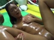 Oiled Up College Girls Banged In Ring At Dorm Party