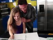 Tight stepdaughter banged by her stepdad