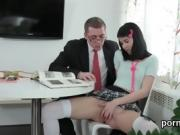 Nice schoolgirl is tempted and nailed by her senior teacher