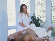 Latina masseuse rides big black cock