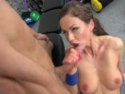 Geek fucks and cums on fitness babe