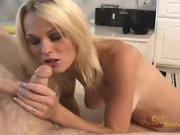 Beautiful blonde masturbating in the tub gets to suck