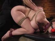 Tied up brunette gaped and anal fucked