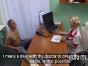 Blonde nurse fucks big dick in office in fake hospital