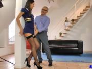 Air hostess rides oldman before cocksucking and cumming