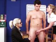 British office femdoms wank sub in breakroom