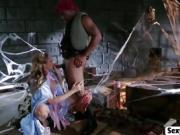 MILF Julia Ann blows black cock in Cinderella porn pardy