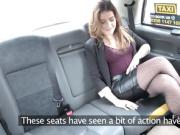 Blonde in fishnets anal banged in fake taxi