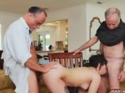 Sexy brunette MILF spit-roasted by two old guys