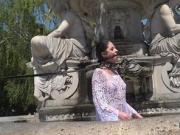 Teen slave bathing in public fountain