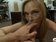 Petite blonde babe boned at the pawnshop