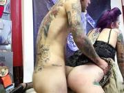 Tattooed newbie sucks off and pounded