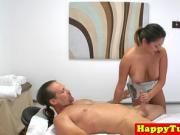 Oriental babe massages her client before giving him a bj
