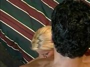 Horny blonde beauty rides his rigid cock hard