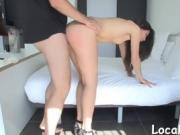 Shaved tight pussy is hammered