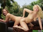 Lesbian blondes lick pussy and toy ass outdoors