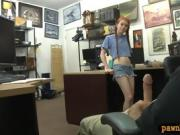Tight redhead babe boned by pawn keeper in the backroom