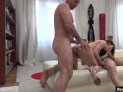 Russian babe Lilu fucks by two big cocks