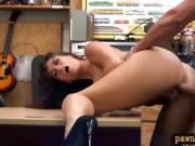 Brunette curly hair woman fucked hard by pawn keeper