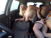 Mature with huge naturals bangs in car