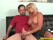 Seductive bigtit milf jerking dick on couch sensually