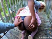 Big Butt Flash Petite Black Babe Lift Skirt Up For Boyfriend