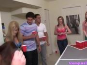 Babes play strip-pong at a frat party