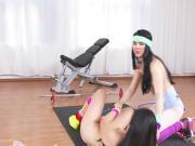Brunette lesbians oral sex at the gym