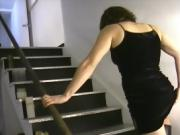 Hot Bodied Girl Shows Her Hairy Snatch On The Stairs