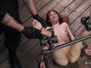 Redhead in device bondage feet tormented