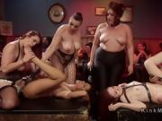 Anal strap on orgy lesbian fucking in bar