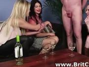 Naughty British girls check out naked CFNM guy