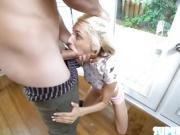 Pantyless petite Hime rides her stepdad