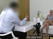 Blonde busty euro toys pussy before spooning casting agent