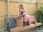 Kinky Milf wanks on public bench in nylons garters stilettos