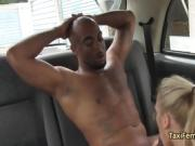 Crazy milf nailed black cock in taxi