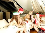 Dominant CFNM christmas teens cocksucking in groupsex party