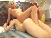 Czech lesbians rub up on one another in nuru massage