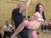 Gagged busty slave fucked in public indoor