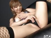 Naughty Asian in stockings thrills with wet titty fuck