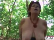 Chubby redhead granny outdoor blowjob missionary
