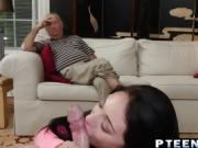Brunette college girl riding old dude