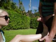 Blonde spinner takes huge dick by the outdoor pool