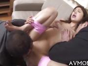 Pretty Asian hottie licking cock