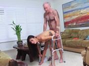 Busty babe Ivy Rose strips and fuck hard by old men