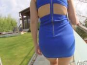 Babe In Blue Dress Love To Play With Her Pussy Lips